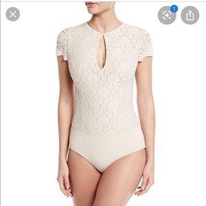 Alice + Olivia cream lace bodysuit